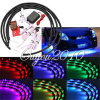 High Quality 7 Color LED RGB Strip Flash Light Under Car Glow Underbody System Neon Lamp Kit Remote 24x 2 36x 2