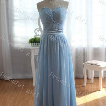 Sweetheart sky blue with satin sash bridemaid dress ,evening dress ,prom dress