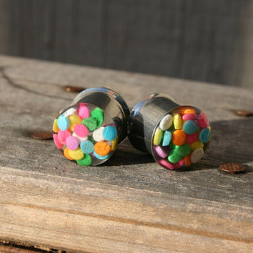 Sprinkle Plugs Real Candy Pastel colors for gauged ears custom size 00g, 7/16g,1/2g, 9/16g, 5/8g, 3/4g, 7/8, 1""