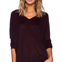 Fine Collection Slouchy V Neck Sweater in Wine