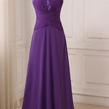 Chiffon Bridesmaid Dresses Cap Sleeve Pleats Long Floor Length Wedding Party Gowns