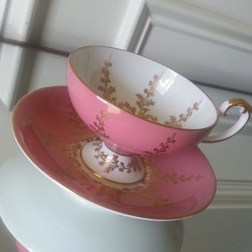 Antique Aynsley pink and gold pedestal tea cup and saucer, English bone china tea set, mother's day gift