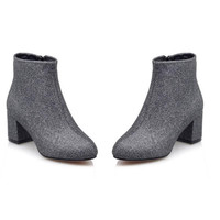 Pointed Toe Ankle Boots Woman  Square Low Heel Botines Mujer Ladies  Bling Footwear Shoes Size 34-43