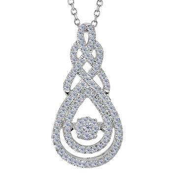 14k White Gold Figure Eight Infinity Sign Dancing Diamonds 18 Inch Necklace - 0.25ct. Diamond