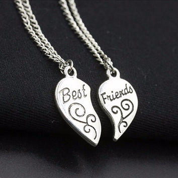 N736 Charming Matching Heart-shaped Pendant Necklace Best Friend Letter Women Gifts Fashion Jewelry Colar 2ps One Direction 2017