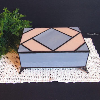 Vintage Stained Glass Trinket Box / Handmade, Geometric