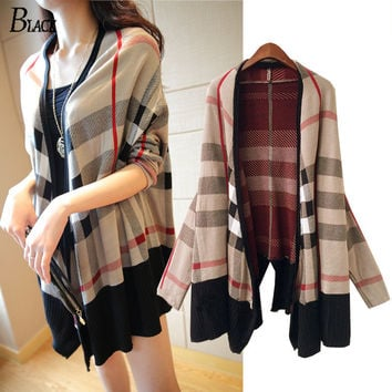 2017 Jumper Long Cardigan Fashion Women Capes Long Sleeve large size V-neck Plaid Knitted Cardigans Wool Sweater Free Shipping