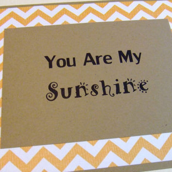 You Are My Sunshine Yellow Chevron Lyric Note Card by prettypetalspaper