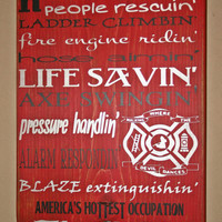 Firefighter Wall Art, Firefighter Decor, Distressed Wall Decor, Custom Wood Sign, Firefighter - America's Hottest Occupation