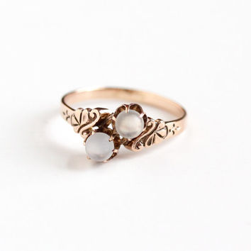 Antique Victorian 10k Rose Gold Moonstone Bypass Ring - Vintage Size 7 1/4 Double Gemstone Toi Et Moi Two Gem Ripley-Howland Fine Jewelry
