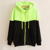 womens casual sports black green patchwork hoodie autumn winter sweater sweatshirt lady girls outwear gift 53