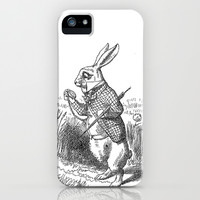 Vintage Alice in Wonderland the White Rabbit emo goth antique book drawing sketch art print iPhone & iPod Case by iGallery
