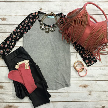 Floral Baseball Tee: Grey/Blush