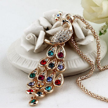 Super Dazzling Gold plated Rhinestone Colorful Peacock Long Necklace & Pendants