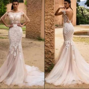 Boat Neck Sexy Backless Illusion Mid East Mermaid Wedding Dress Embroidery Appliques Champagne Wedding Gown