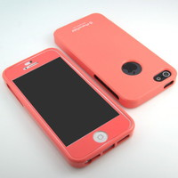 GNJ Prime New Peach Pink Gloss silicone case cover + peach HD film for iPhone 5