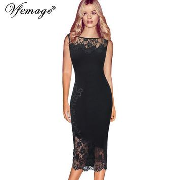 Vfemage Women Elegant Sexy Applique Floral Flower Black Lace See Through Party Club Cocktail Fitted Bodycon Pencil Dress 7451