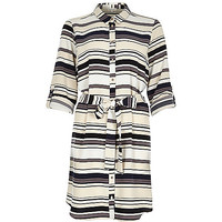 River Island Womens Cream stripe shirt dress
