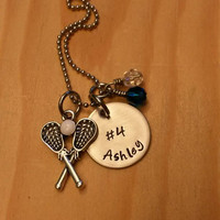 Hand Stamped lacrosse Necklace - LAX necklace - lacrosse team gift