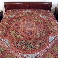 Russet Kundan Indian Sari Decorative Bedspread Tapestry | NovaHaat.com