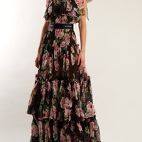 Rose-print tiered-chiffon gown | Dolce & Gabbana | MATCHESFASHION.COM US