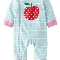 Mini Boden Applique Zip Up Romper (Baby Girls)