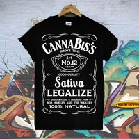 CANNABIS'S SMOKE TIME JACK DANIELS JD HIGH DOPE LEGALISE WASTED YOUTH T SHIRT !!