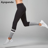 Ayopanda Zoe Runway Black Sport Leggings Women Mesh Pacthwork Yoga Pants Breathable Quick Dry Gym Workout Clothing