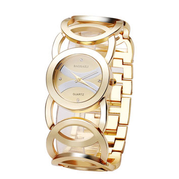 Brand Luxury Crystal Gold Watches Women Ladies Quartz Wristwatches Bracelet