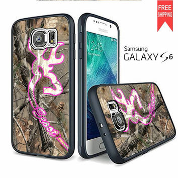 Love Browning Deer Camo Real Tree Couple Case Scoot A Samsung Galaxy S6 edge Case