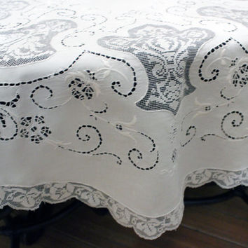 "Vintage Italian Linen Lace Embroidered Tablecloth Round 45"" Price Reduced"