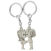 2PCS Magnetic Kissing Boy Girl Lovers Face to Face Boy and Girl Pendent Metal Keyrings Chains Pair Keychain +Gift 1pcs Insect Mosquito Repellent Wrist Bands bracelet