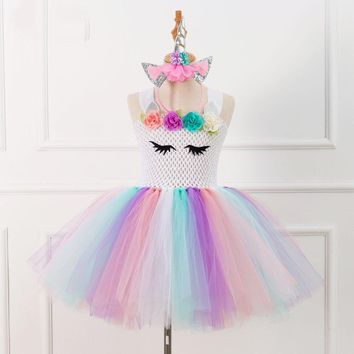 Brand Flower Girls Unicorn Tutu Dress Pastel Rainbow Princess Girls Birthday Party Dress Children Kids Halloween Unicorn Costume