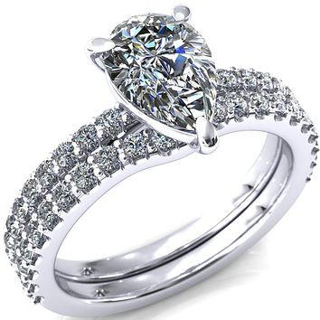 Beatrisa Pear Moissanite 3/4 Eternity 3 Prong Engagement Ring