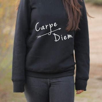 Carpe Diem - Carpe Diem Sweater - Carpe Diem Sweatshirt - Carpe Diem Shirt - Yoga - Yoga Clothes - Yoga Sweater - Yoga Sweatshirt