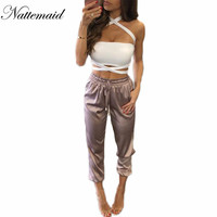 2016 New arrival Women Satin pants Casual Loose Pink color Long Bottoms Silk Pans&Capris
