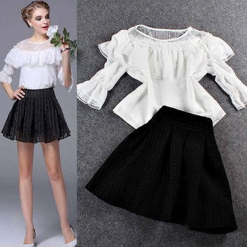 White Sheer Mesh Lace Cape Blouse And A-LineMini Skirt
