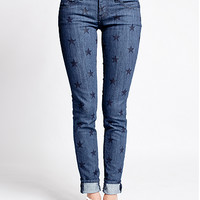 Indigo Star Print Skinny Denim Low Rise Jeans by Vans | Edge of Urge