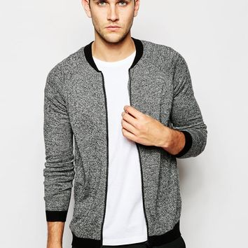 ASOS Knitted Bomber in Merino Wool Mix