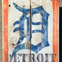 Old English D, Detroit, Tigers, Vintage-looking Pallet wood hand made, hand painted sign (x49)