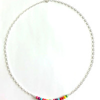 Rainbow Bar Necklace, Colors of the Rainbow Minimalist Necklace,  Multi Colored Silver Bar Necklace, Horizontal Bar Necklace, Bead Jewelry