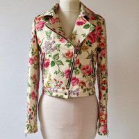 Exclusive Miss Lizzy unique floral biker jacket in a uk size 8