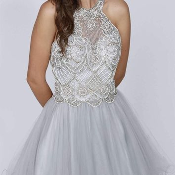 Juliet 780 Halter Beaded Bodice Cut Out Back Homecoming Dress Silver
