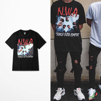 men and women T-shirt NWA Straight Outta Compton Hip Hop letters printing summer top tee