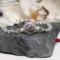Eco Chic Real Lavender and Hand Blown Glass Bracelet, Lavender Jewelry, Eco Friendly Jewelry, Real Flower Jewelry