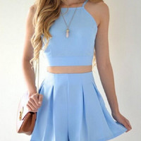 Blue Cami And Shorts Two Piece Set 10334