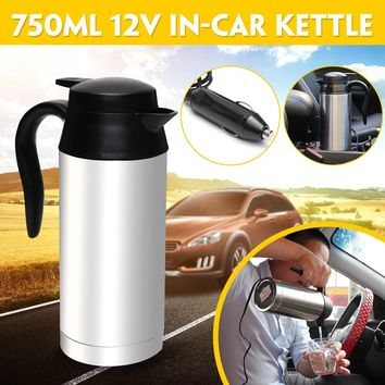 12V Electric Kettle 750ml Stainless Steel In-Car Travel Trip Coffee Tea Heated Mug Motor Hot Water For Car Or Truck Use