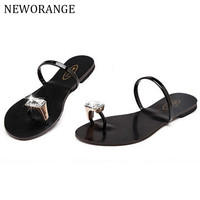 NEWORANGE Rhinestone Toe Ring Summer Flat Sandals Women 2017 Hot Fashion Open Toe Flip Flops Slides Slip On Beach Shoes WSS50
