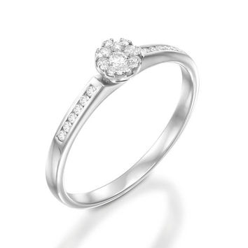 Unique Diamond Engagement Ring, 14K White Gold Ring, Anniversary jewelry, Christmas gift, Wedding jewelry, Women Rings, Bridal Rings, Ring