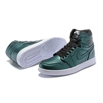 Air Jordan 1 Retro High Green White Sneakers - Best Deal Online